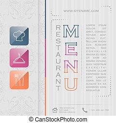 01, menu ristorante, illustrazione, elegante, vettore, disegno