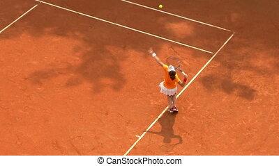 01, saque tênis, jogo, laranja, menina