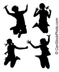 01., silhouette, geitjes, springt