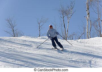 010, toma, esquí, cuesta abajo