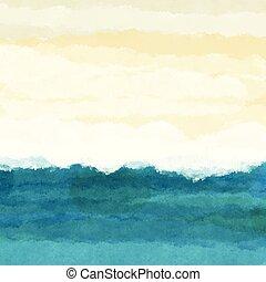 0106, scena spiaggia, watercolour