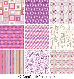 017 60s patterns - Collection of nine retro style, seamless ...