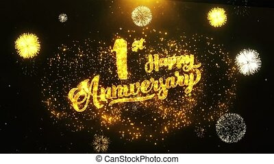01st Happy Anniversary Text Greeting, Wishes, Celebration, invitation Background