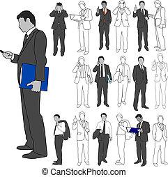02, セット, グループ, ビジネス男性たち