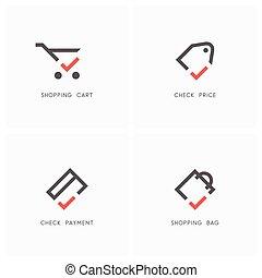 02, ロゴ, セット, チェックマーク