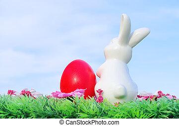 02, 花, 復活節, 草地, bunny