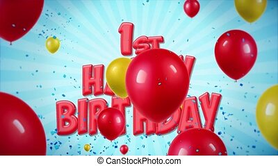 02. 1st Happy Birthday Greeting and Wishes with Balloons,...