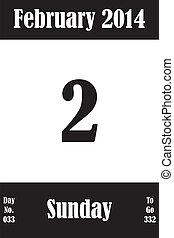 02, 2 月, 日々, 数, 行きなさい, 2014, カレンダー, 日, ページ