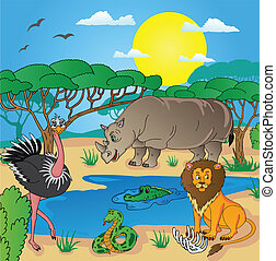 02, animais, paisagem, africano