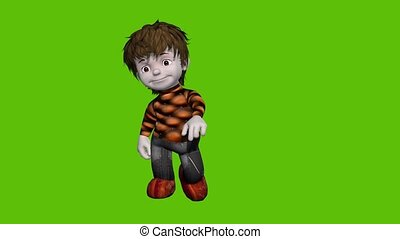 02 animated cartoon boy with green sceen background - ...