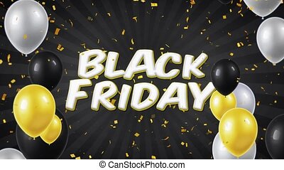 02. Black Friday Text Appears on Confetti Popper Explosions Falling and Glitter Particles, Colorful Flying Balloons Seamless Loop Animation.