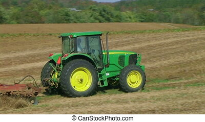 02, champ, tracteur, discing