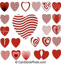 02, corazón, diseños, conjunto, lotes