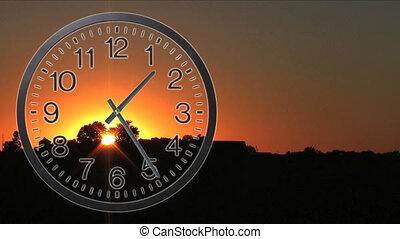02, défaillance, temps, coucher soleil, horloge
