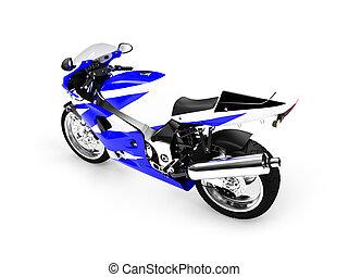 02, isolé, motocyclette, arrière affichage