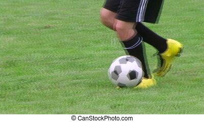 02, joueur, dribble, football