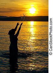 02, kvinde, solnedgang