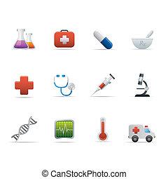 02, medicina, y, healt, cuidado, iconos