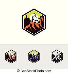 02, montagna, bufalo, logotipo