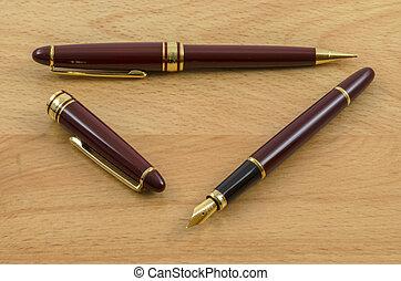02, ołówek, pióro, komplet, fontanna