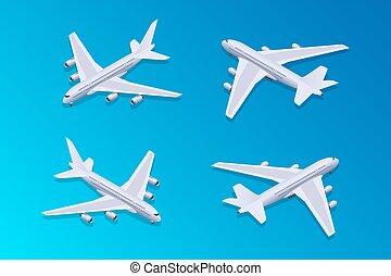 02, passeggero, isometrico, aeroplano