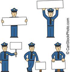 02, policía, conjunto, carácter