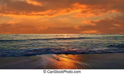02 Sea landscape of waves on beach and sunset