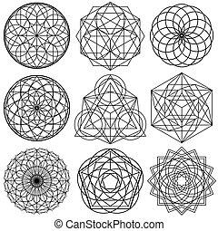 02, set, geometria, -, simboli, vettore, sacro
