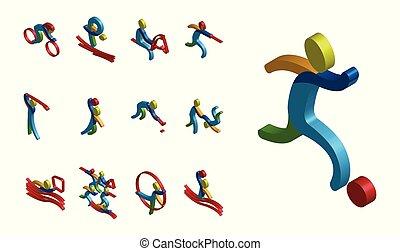 02, set, kleur, illustratie, sporten, vector, isomatic, pictogram