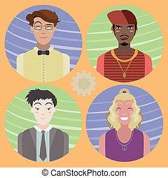 02, set, mannen, -, avatars, vier, spotprent
