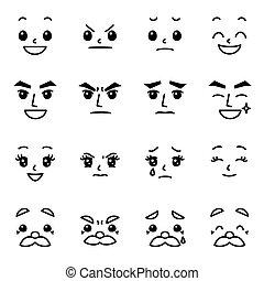 02, set, uitdrukking, gezichts, emoties