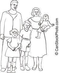 02, silhouette, famille