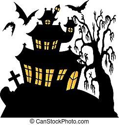 02, spooky, sylwetka, dom