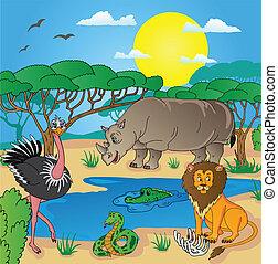 02, tiere, landschaftsbild, afrikanisch
