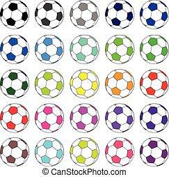 02, voetbal, set, kleurrijke