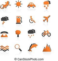 02, voyage, ensemble, icônes