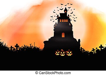 0210, halloween, watercolour, struttura, fondo
