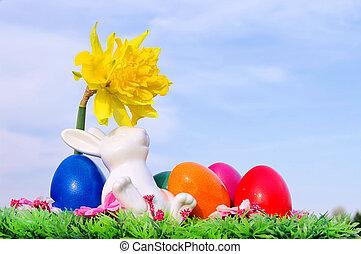 03, 花, 復活節, 草地, bunny