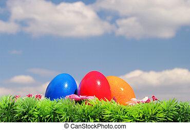 03, 花, 草地, 蛋, 天空, 復活節
