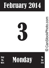 03, 2 月, 日々, 数, 行きなさい, 2014, カレンダー, ページ, 日