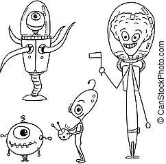 03, ensemble, étrangers, astronautes, amical, vecteur, dessin animé