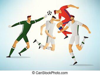 03, futebol, ilustração, jogadores