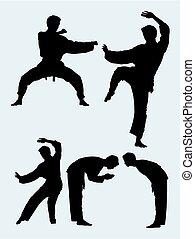 03., karate, kunst, silhouette, krijgshaftig