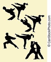 03., karate, silhouette, paar, het uitoefenen