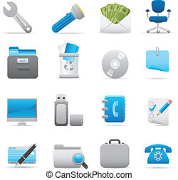 03, komplet, indygo, biurowe ikony, seria, |