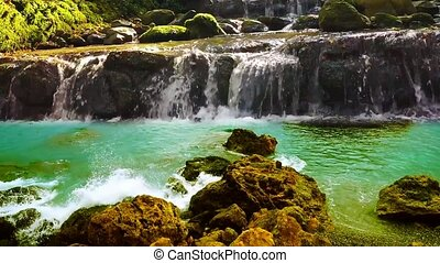 03 landscape of waterfall in forest and waves on rocks