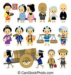 03, ocupaciones, gente, edo, período, vario, japón
