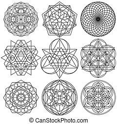 03, set, geometria, -, simboli, vettore, sacro