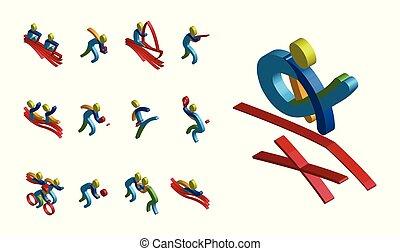 03, set, kleur, illustratie, sporten, vector, isomatic, pictogram