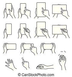 03, tablette, main, gestes, pc, smartphone